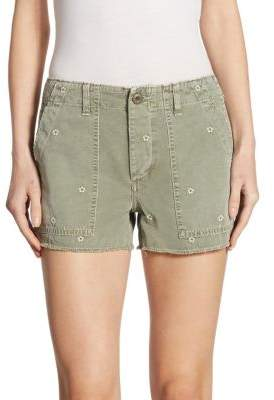Amo Army Floral Canvas Shorts With Frayed Hem