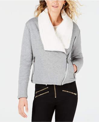 GUESS Asymmetrical Sherpa-Lined Jacket