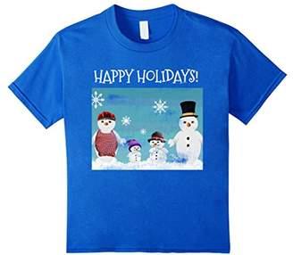Happy Holidays Snowman Family Christmas Card T Shirt