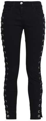 Versace Lace-Up Mid-Rise Skinny Jeans
