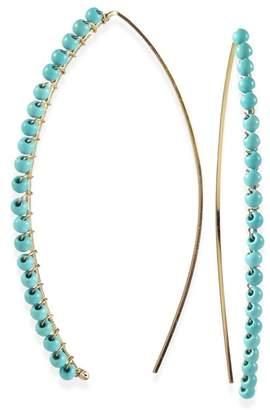 Taolei Wire Wrapped Turquoise Open Hoop Earrings