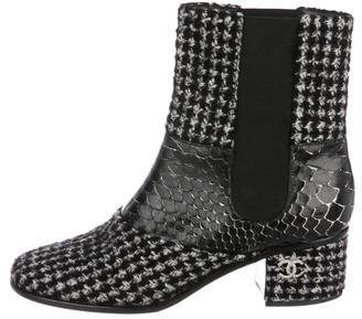 Chanel Tweed CC Ankle Boots