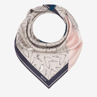 Bally Bird Print Silk Scarf