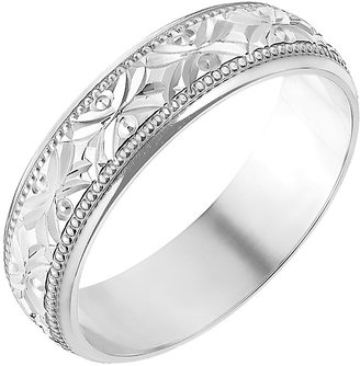 At H Samuel 9ct White Gold 5mm Crossover Patterned Wedding Ring