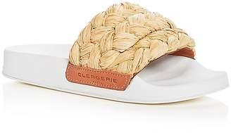 Robert Clergerie Women's Walter Raffia Pool Slide Sandals
