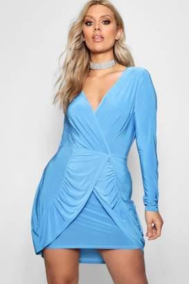 boohoo Plus Olivia Wrap Front Frill Dress