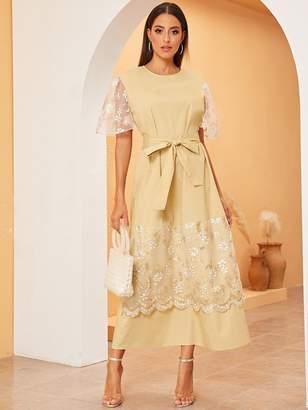 Shein Embroidered Mesh Panel Keyhole Back Self Belted Dress
