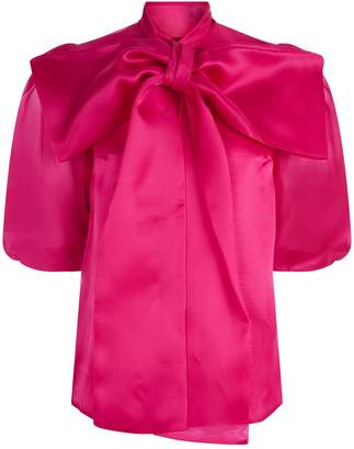 Costarellos Oversized Bow Silk Organza Blouse