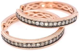 "LeVian LE VIAN Hoops Earrings 5/8 ct Chocolate Diamonds 14k Rose Gold 1"" drop / diameter"