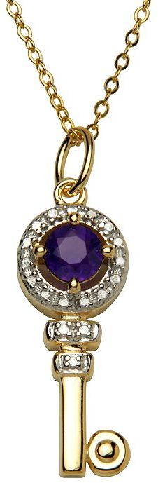 18k Gold-Over-Silver Amethyst & Diamond Accent Key Pendant