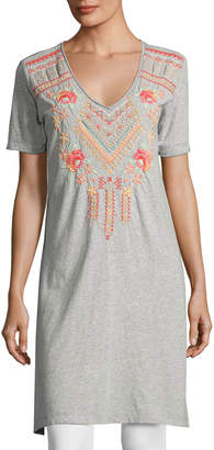 JWLA for Johnny Was Side-Slit Embroidered Jersey Tunic, Gray $103 thestylecure.com