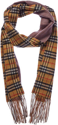 Burberry Long Reversible Vintage Check Cashmere Scarf