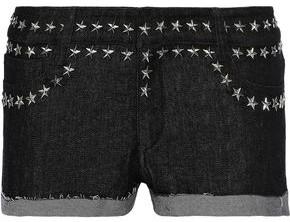 Norma Kamali Frayed Studded Denim Shorts