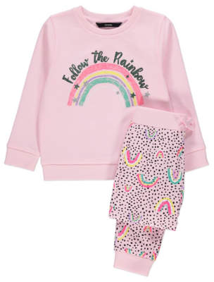 George Pink Rainbow Sweatshirt and Joggers Outfit