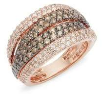 Effy 14K Rose Gold & Two-Tone Diamond Multi-Band Ring
