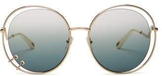 Chloé Carlina Oversized Round Metal Sunglasses - Womens - Blue