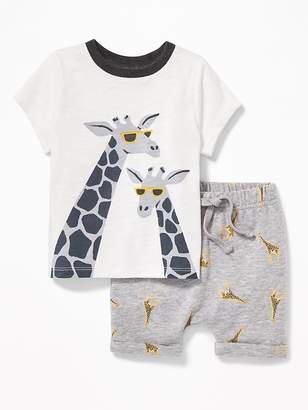 Old Navy Graphic Tee and Printed Shorts Set for Baby