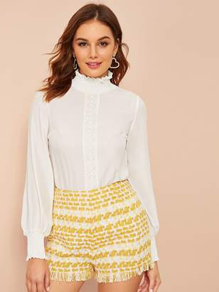 Shein Shirred Neck Bishop Sleeve Lace Tape Top