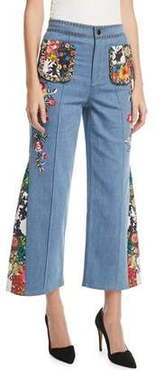 Alice + Olivia Reina High-Waist Flared-Leg Jeans with Embroidery