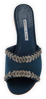 Manolo Blahnik Triunslo Embellished Satin Flat Slide Sandals