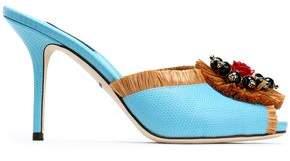 Dolce & Gabbana Embellished Raffia-Trimmed Lizard-Effect Leather Mules