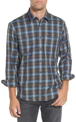 COASTAORO Walnut Plaid Garment Washed Regular Fit Flannel Shirt