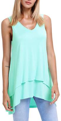 Kedera Women's Sleeveless V Neck Layered Tunic Top Casual T-Shirt