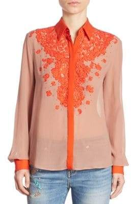 Roberto Cavalli Long Sleeve Floral Blouse