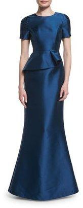 Black Halo Short-Sleeve Peplum Trumpet Gown, Deep Sea $575 thestylecure.com