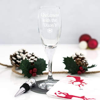 Mirrorin Personalised Christmas Champagne Flute