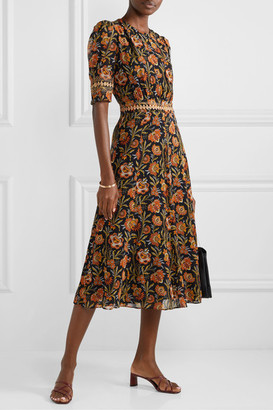Derek Lam Crochet-trimmed Floral-print Georgette Midi Dress - Black