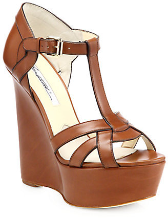 Brian Atwood Sema Leather Wedge Sandals