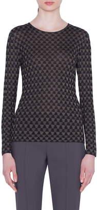 Akris Trapezoid Jacquard Silk Sweater