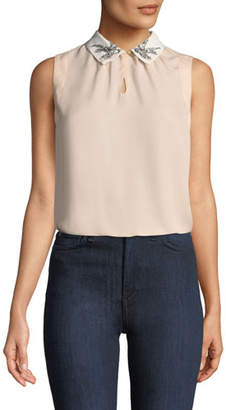 Rebecca Taylor Bird-Embellished Collar Sleeveless Silk Top