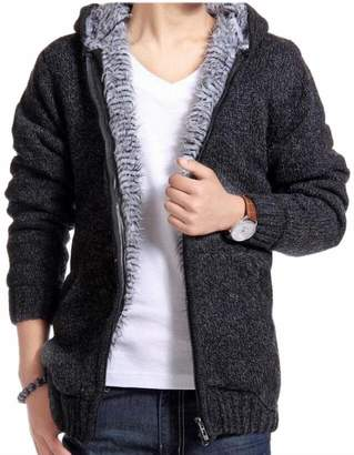 Smeiling Men's Winter Faux Fur Lined Knit Thick Full-Zip Fleece Hoodie Cardigan XL