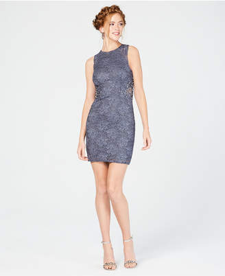 City Studios Juniors' Embellished Lace Bodycon Dress