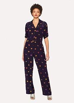 Paul Smith Women's Navy 'Kyoto Floral' Silk Jumpsuit