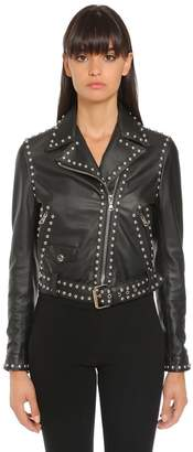 Moschino Studded Logo Leather Biker Jacket