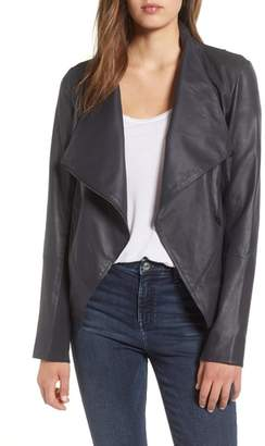 LAMARQUE Asymmetrical Zip Front Leather Cascade Jacket