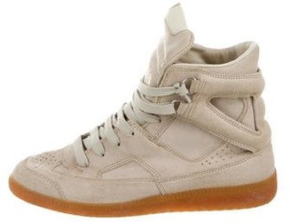 Maison Margiela High-Top Suede Sneakers $175 thestylecure.com