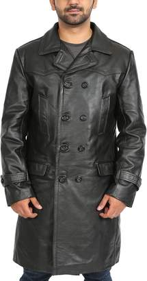 House of Leather Real Leather 3/4 Length Trench Military Double Breasted Coat Men Submarine