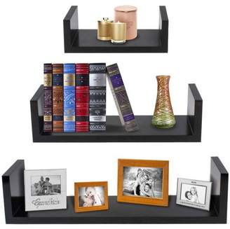 "Sorbus Floating Shelves Hanging Wall Shelves Decoration Perfect Trophy Display, Photo Frames (17""x4""x4"", Black)"