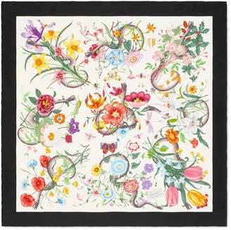 Gucci Flora Snake print silk scarf