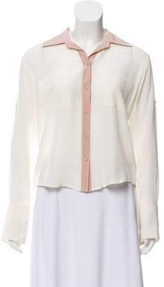 Chelsea Flower Silk Button-Up Top