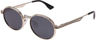 Le Specs Semi-Rimless Round Sunglasses