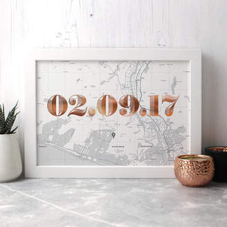 Well Bred Design Personalised Map Print With Date In Copper Or Gold Foil