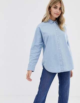 Asos DESIGN denim batwing shirt in pretty blue