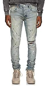 Purple Men's Paint-Splatter Skinny Jeans - Md. Blue