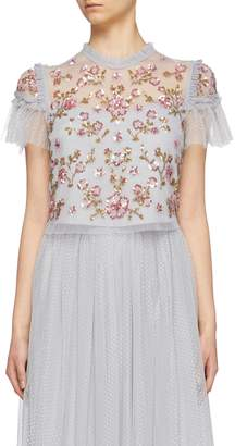 Needle & Thread 'Carnation Sequin' ruffle trim tulle cropped top