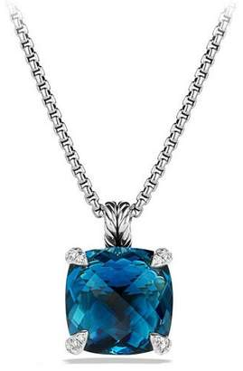 David Yurman 14mm Châtelaine Hampton Blue Topaz Pendant Necklace $1,350 thestylecure.com